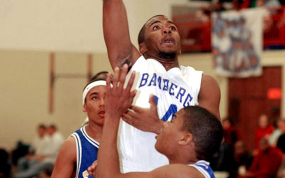 Bamberg's T'Andre Stuckey shoots over Ansbach's Dominique Whaley.