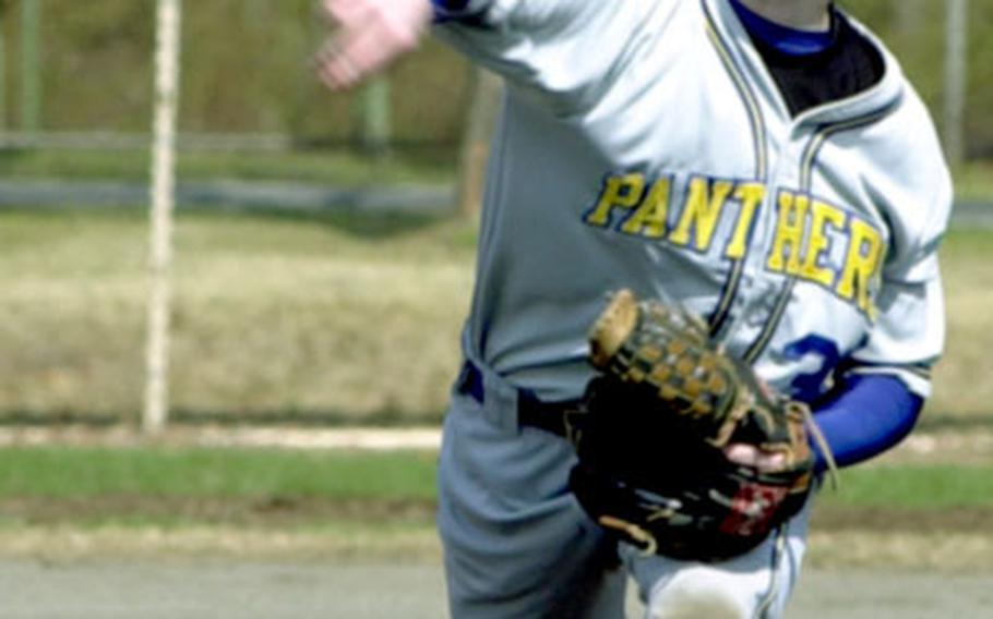 Yokota Panthers pitcher Peter Weaver delivers during Saturday's Japan Baseball League game against Edgren. The Panthers won 20-0.