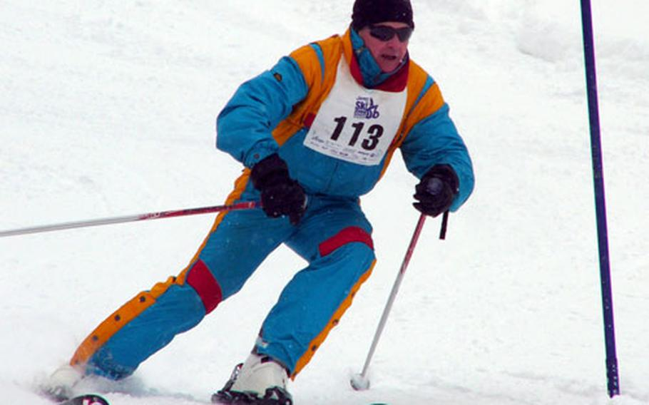 Kaiserslautern's Peter Donnelly speeds to the finish in Sunday's slalom. Donnelly placed third in the military masters event for active-duty skiers aged 40 and over.