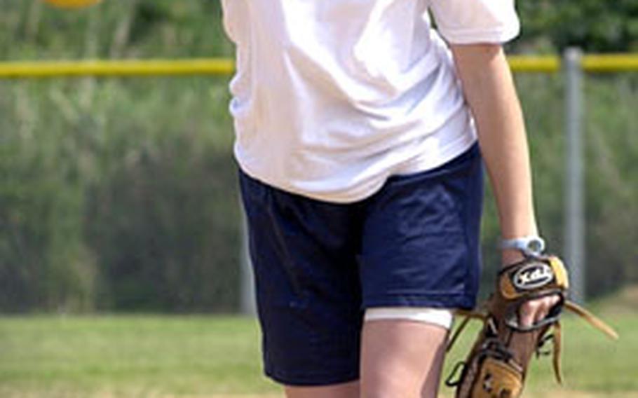 Kadena sophomore right-hander Kara Davis delivers during softball practice Thursday at Kadena Air Base, Okinawa.