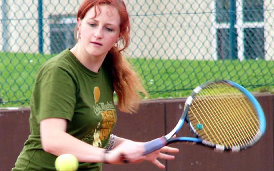 Patch High School junior Mariel McNevin eyes a backhand during practice Tuesday at Patch Barracks, Vaihingen, Germany.