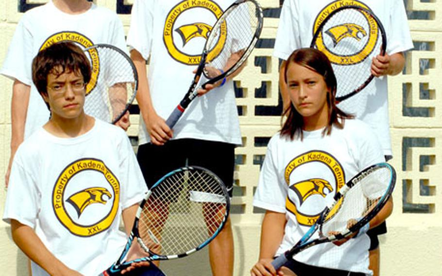 From left: Kadena freshmen Kyle Trenor, Kyle Sprow and Alex Davis (standing), and Elliot Mason and Ellisa Mason (kneeling), have helped the Panthers go 14-2 in individual singles and doubles matches and sweep their two dual meets with Kubasaki.