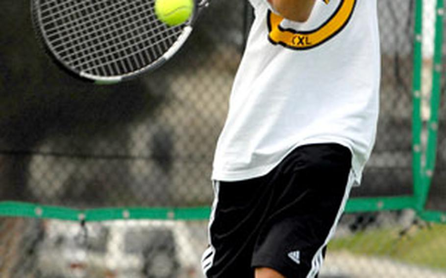Kyle Trenor is the top boys singles player for a Kadena squad that should compete strongly for a Far East title.