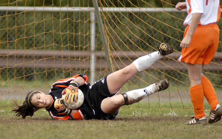 Dana Fernkas of Spangdahlem makes a save during the first half of the USAFE women's championship game at Sembach. Spangdahlem won 3-1.