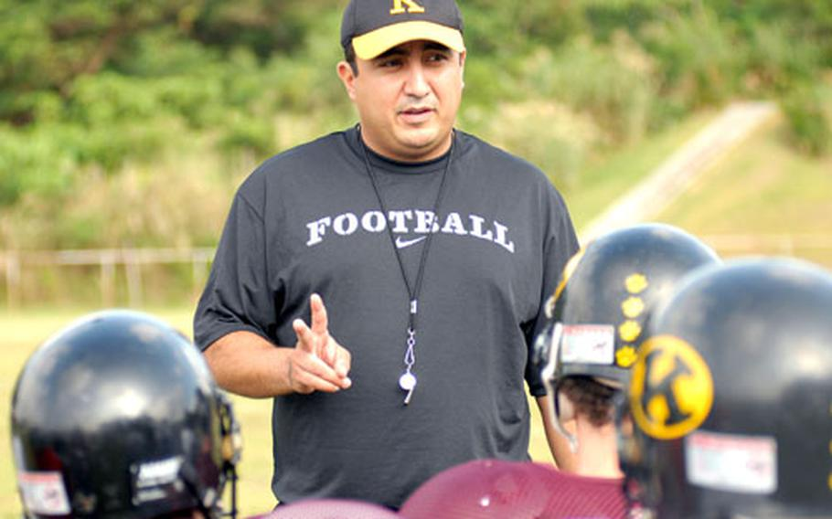 """Kadena football coach Sergio Mendoza feels the new Far East football playoff system enacted last season by DODDS-Pacific is """"awesome"""" because it's giving the the kids the stateside football experience."""