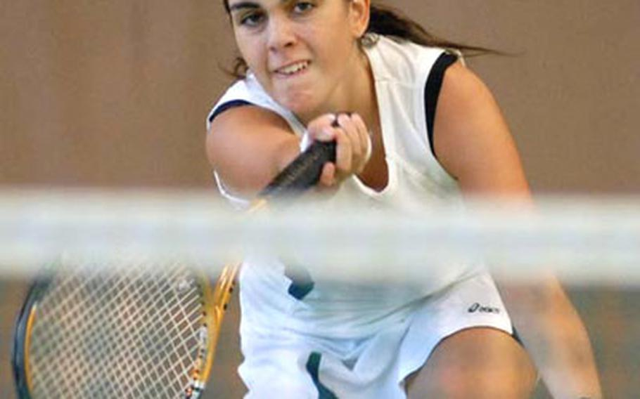 Milan's Vittoria Musotto watches her shot sail over the net in her 7-6 (9-7), 0-6,2-6 semi-final loss to second-seeded Jennica Botonis. Earlier in the day Musotto upset third-seeded Alison Luthman of Ramstein.