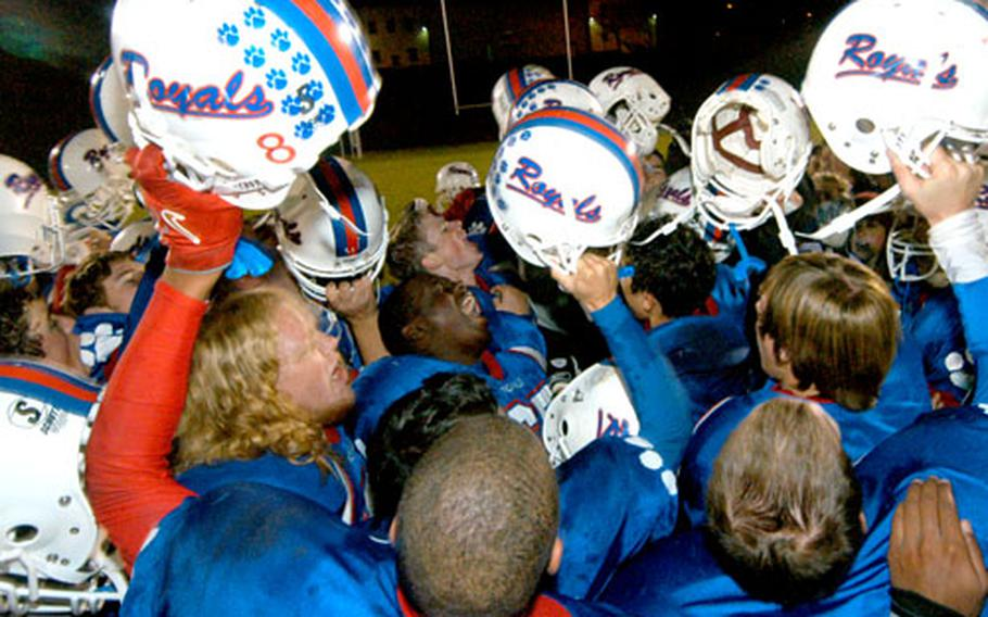 The Ramstein Royals celebrate after winning the DODDS-Europe Division I football title by beating Heidelberg 26-7 on Nov. 4 in Baumholder, Germany. Ramstein won seven team championships in 2006, the most by any DODDS-Europe school.