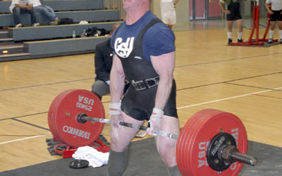 Jason Watson, a soldier from Vilseck, Germany, dead lifts more than 600 pounds during the U.S. Forces Europe Powerlifting Championships at Warner Barracks in Bamberg, Germany, on Saturday. Watson, the lone competitor in his weight class, lifted a total of 1,664.74 pounds