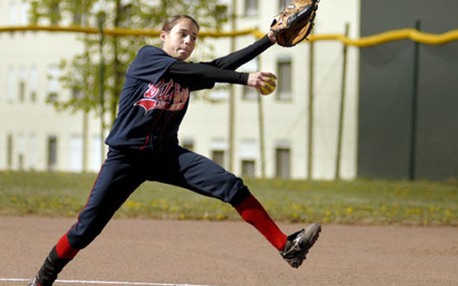 Sandra Davidson, a Bitburg sophomore, hurls a strike in the first game of a doubleheader sweep of against Mannhiem on Saturday at Bitburg.