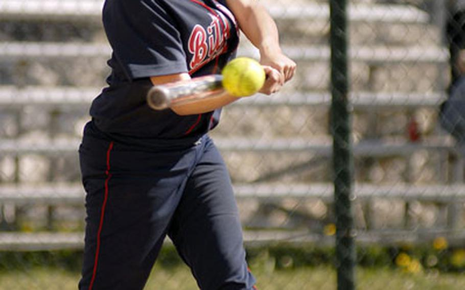Ashley Chauvin, a Bitburg junior, cracks a single in the third inning of the first game of a doubleheader against Mannhiem Saturday at Bitburg. Chauvin went on to score a run in Bitburg's 15-0 win. Bitburg won the nightcap 22-4 to complete the sweep.