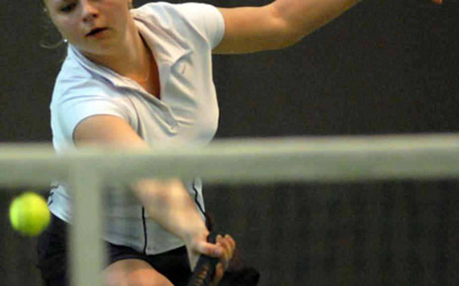 Two-time defending DODDS-Europe champion Krista Citkovska of SHAPE, seen here in the 2006 final against Bitburg's Jennica Botonis, will try to make it a three-peat as the 2007 tennis season gets under way this weekend.