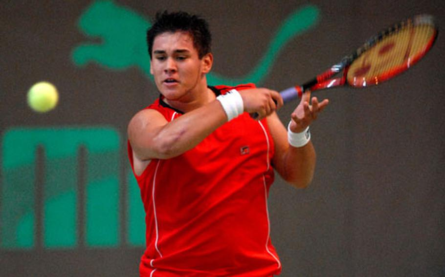 Heidelberg's Nick Garcia returns a shot from SHAPE's Claudio Giraldi in his 6-1, 6-2 boys final win at the 2006 DODDS-Europe tennis championships in Wiesbaden, Germany, last year. Garcia will be back this season to defend his title.
