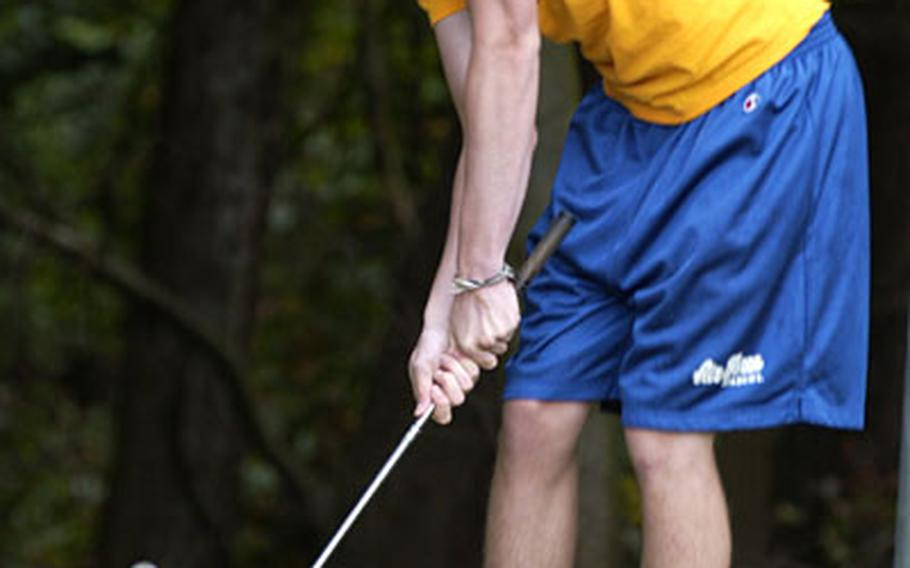Ramstein High School golfer Stephen Braden, a junior, practices his short game at Woodlawn Golf Course at Ramstein Air Base on Wednesday.