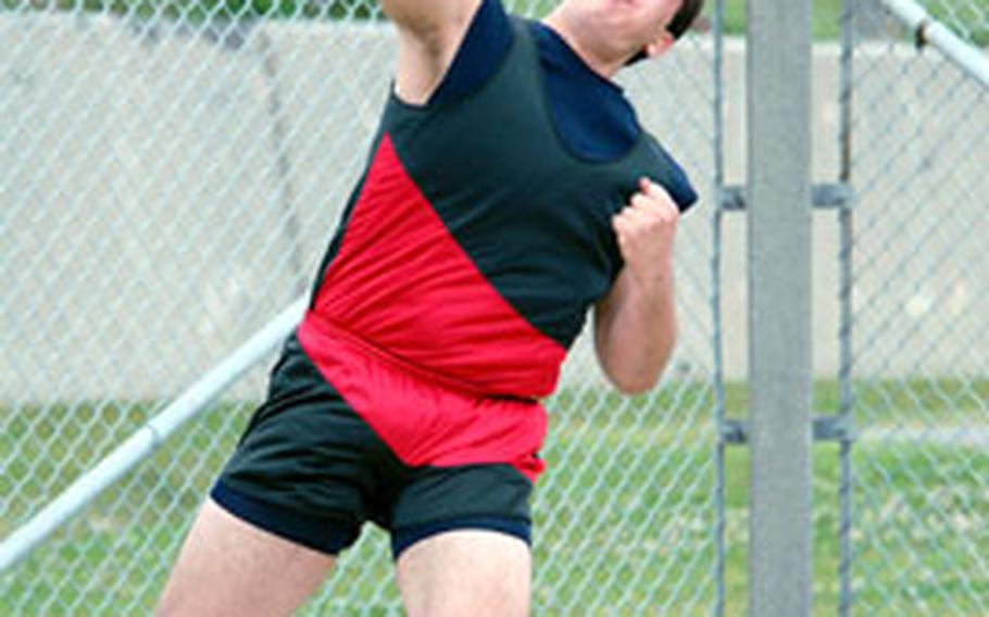 """Mark Lieberg of Seoul Track Club set a meet record of 14.79 meters (48 feet, 6 inches) in the shot put in the 6th Alva W. """"Mike"""" Petty Memorial Track and Field Meet last week."""