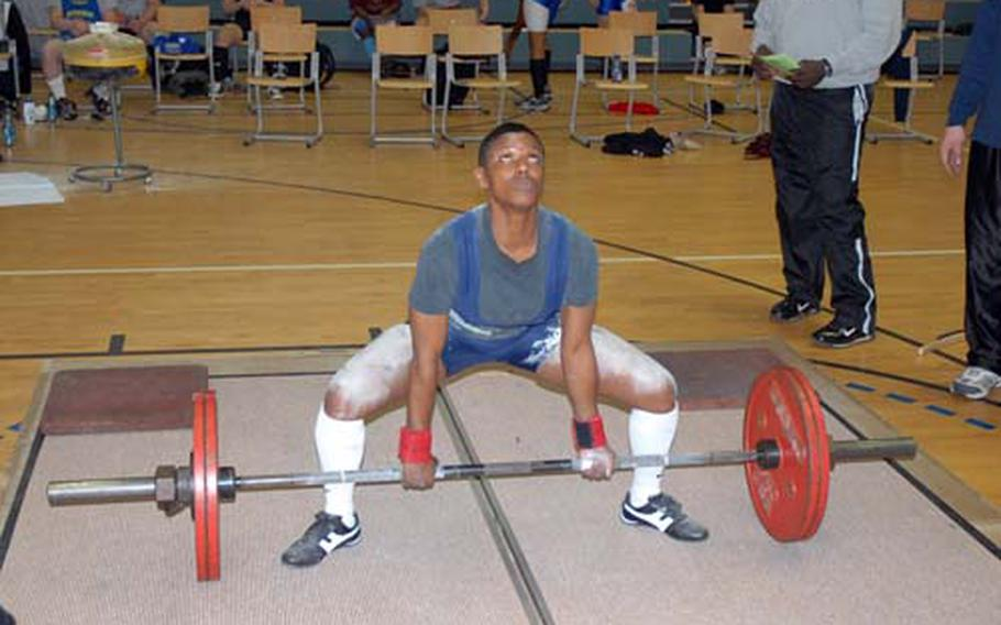 Debra A. Jackson, from Kaiserslautern, Germany, pictured here during the dead lift portion of the 2008 U.S. Forces Europe Men's and Women's Powerlifting Championships in Bamberg, Germany, was named best female lifter during the competition.