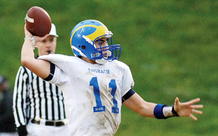 Ansbach quarterback Dominic Barrale prepares to launch his third touchdown pass in the Division II championship game in Baumholder, Germany, on Saturday. Ansbach took the title with a 50-13 victory over Wiesbaden.