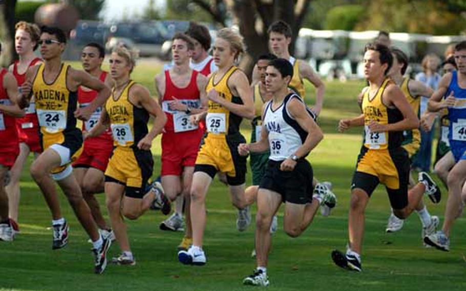 Zama American senior Andrew Quallio (36) and the pack of runners make their way to the first turn during Monday's 2008 DODDS-Pacific Far East High School Cross Country Meet.