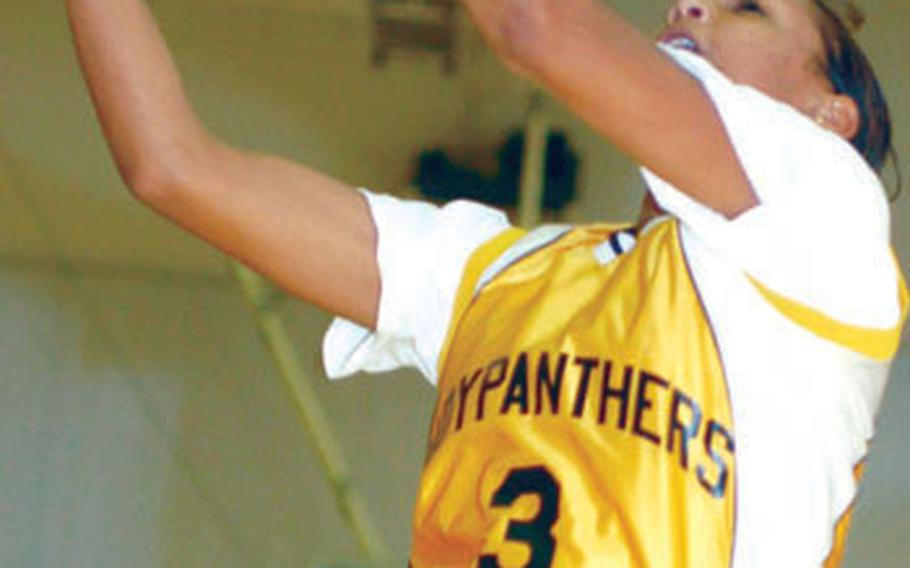 Junior Aja' Walker (3) is one of just three returning players on a Kadena Panthers girls basketball team that's won the last two Far East Class AA Tournament titles.