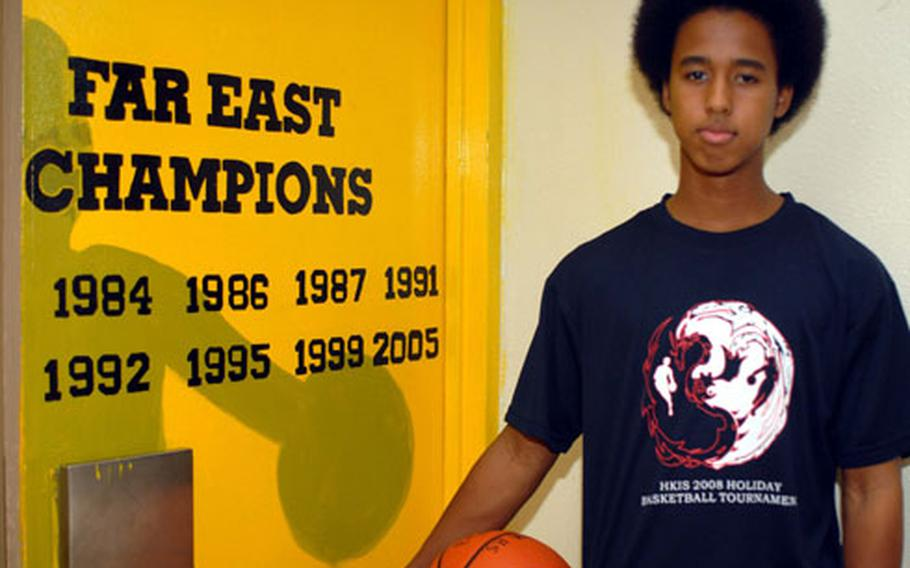 Junior Taiyo Robertson and the rest of the Kadena Panthers are hoping to add a ninth year to Kadena's list of Far East Class AA boys basketball championships.