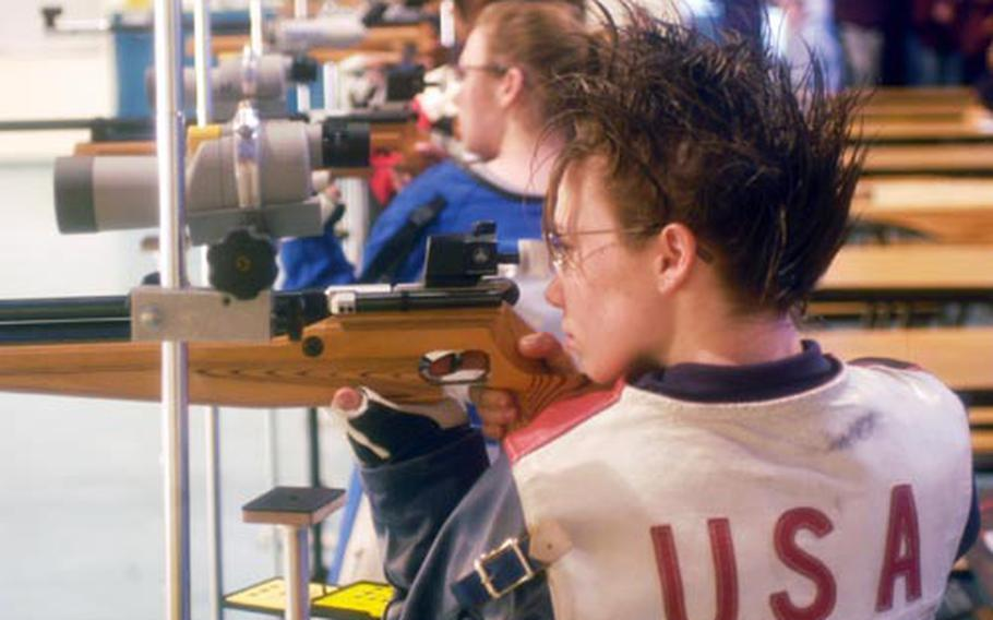 Sarah Adams of Hohenfels takes aim during last season's rifle championships in Stuttgart, Germany. She is among the top shooters back for the two-time defending champ.