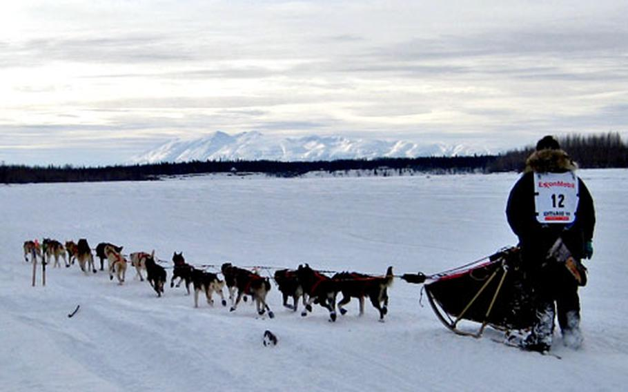Jake Berkowitz of Anchorage heads out on the trail at the official start of the 2009 Iditarod in Willow, Alaska. In the background is Mt. Susitna.