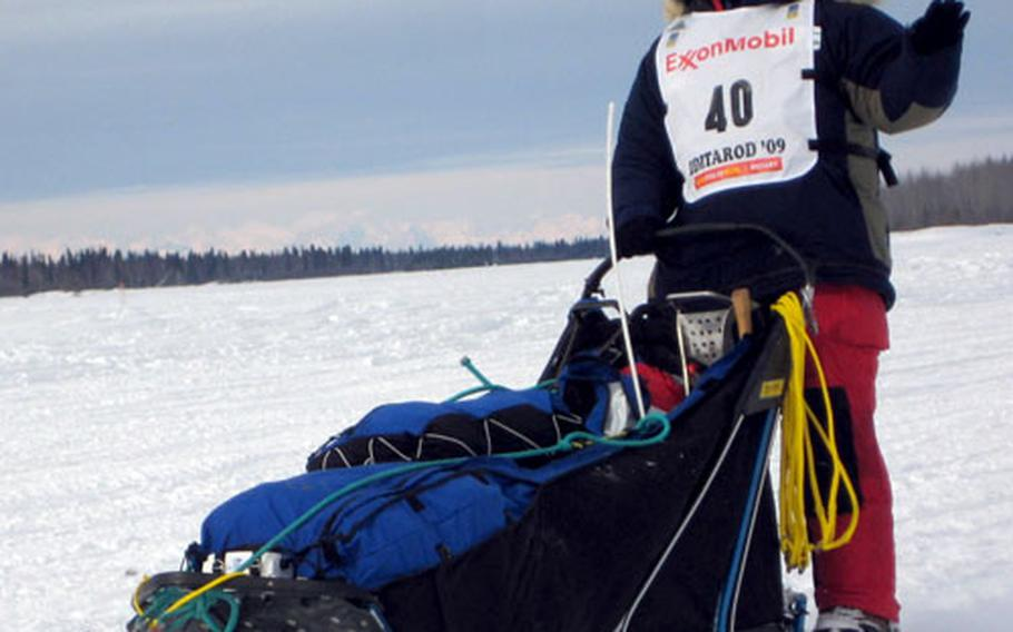 Bruce Linton of Kasilof, Alaska, in the early stages of the race. Linton was running in 19th place at the halfway point on Friday.