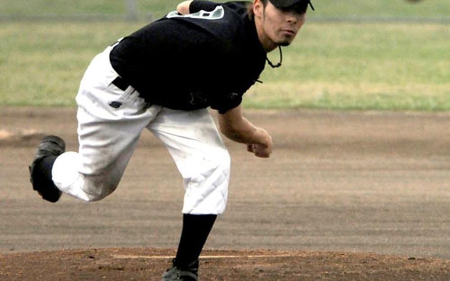 """Kubasaki right-hander Patrick """"Duck"""" Duffy delivers against Naha Young Spirit during Saturday's baseball game at Camp Foster, Okinawa. The host Dragons rallied for a 9-8 victory."""