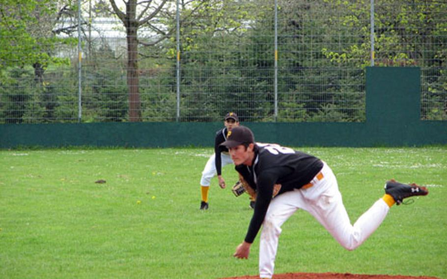 Patch junior Justin Phelps follows through during a recent game. He threw a four-inning no-hitter against Wiesbaden in the first weekend of DODDS-Europe baseball.
