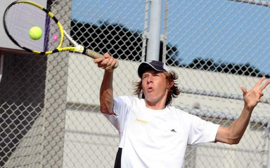 """Kadena Panthers senior Kyle Sprow knows well the pressure of defending a championship; he's won the last two Far East High School Tennis Tournament gold medals at Kadena Air Base, Okinawa. """"You don't think about it,"""" he said."""