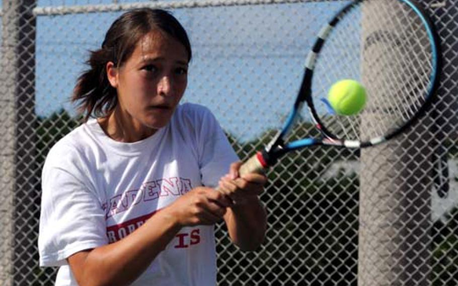 """Kadena Panthers senior girls singles tennis player Elissa Mason dethroned defending champion Kennedy Allen of Seoul American in the 2008 singles final. Mason had lost to Allen 7-5, 6-1 in the 2007 singles semifinals. Before the rematch, """"I told myself that she's just like any other player,"""" Mason said of Allen."""