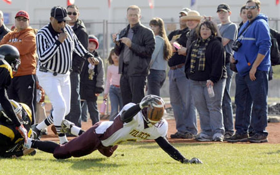 Vilseck running back Mario Gibson dives but comes up a yard short of a touchdown.