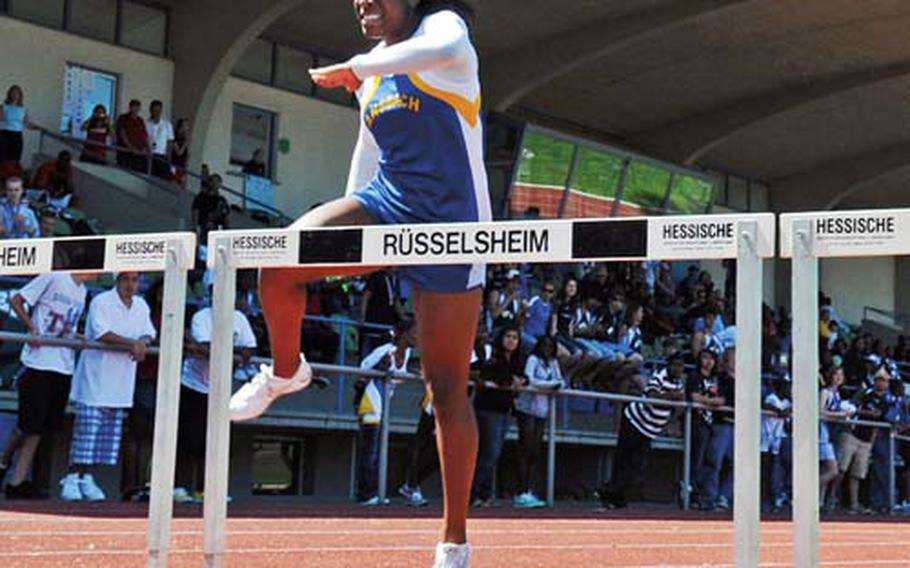 Tiffany Heard of Ansbach opens a big lead on the way to winning the 300-meter hurdles in last year's DODDS-Europe track and field championships. She won three gold medals in the meet, including the 100-meter intermediate hurdles in a record time. She is back to defend all three titles this year. Kaiserslautern, though, remains the team to beat in this year's European championships.