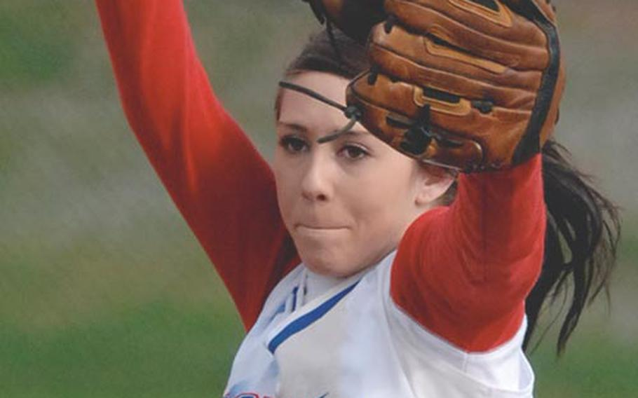All-Europe pitcher Lindsey Jones of Ramstein struck out six Lakenheath batters in the opener of a doubleheader sweep Saturday.