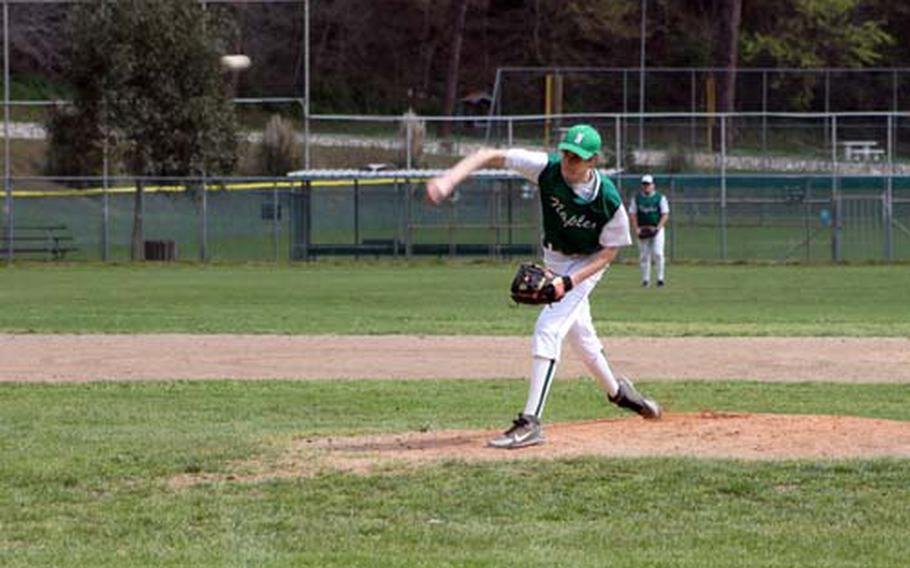 Naples' Logan Porchie delivers during his no-hit victory over Vicenza on April 3. Porchie, a strong switch hitter as well as an overpowering hurler, could have a college career as a middle infielder or pitcher, according to his high school coach, Duke Marlow.