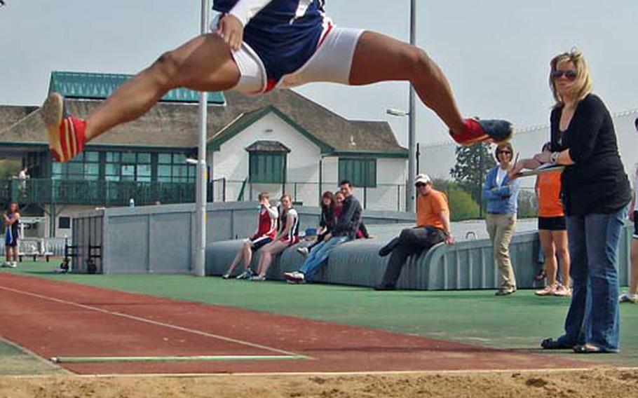 Lakenheath's Jasmin Walker powers into her winning 17 foot, 7-inch long jump April 24 at Alconbury. The jump is a season best for DODDS-Europe, but two feet shorter than Walker's personal best.