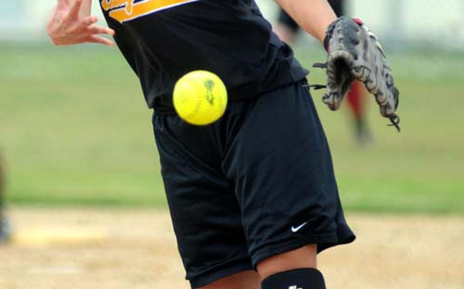 Senior pitcher Mary Schweers delivers for Kadena, the favorite going into the inaugural Far East softball tournament.