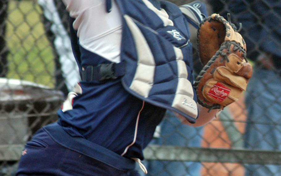 Nicole McBride, a senior on the Lakenheath softball team, has replaced her sister, Lisa, as both catcher and a co-captain. She bats cleanup and is hitting .472 on the year.