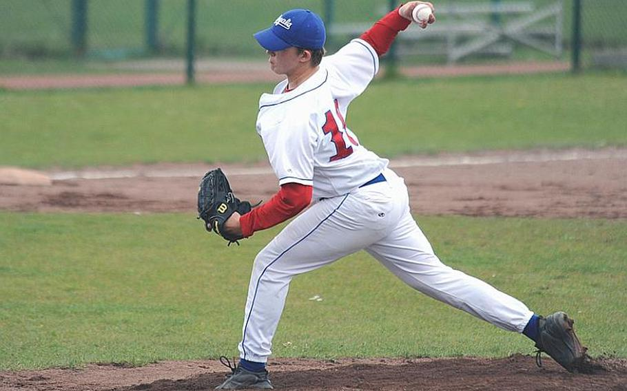 Ramstein hurler Jon Groteleuschen, a strikeout pitcher, delivers during a victory against SHAPE on May 8.