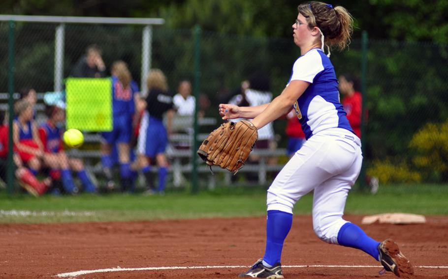 Sigonella pitcher Courtney Albert throws a strike in the opening inning of  top-seeded Sigonella's 14-11 victory over No. 2 seed Alconbury during the DODDS-Europe Division III softball tournament on Friday at Ramstein Air Base, Germany.