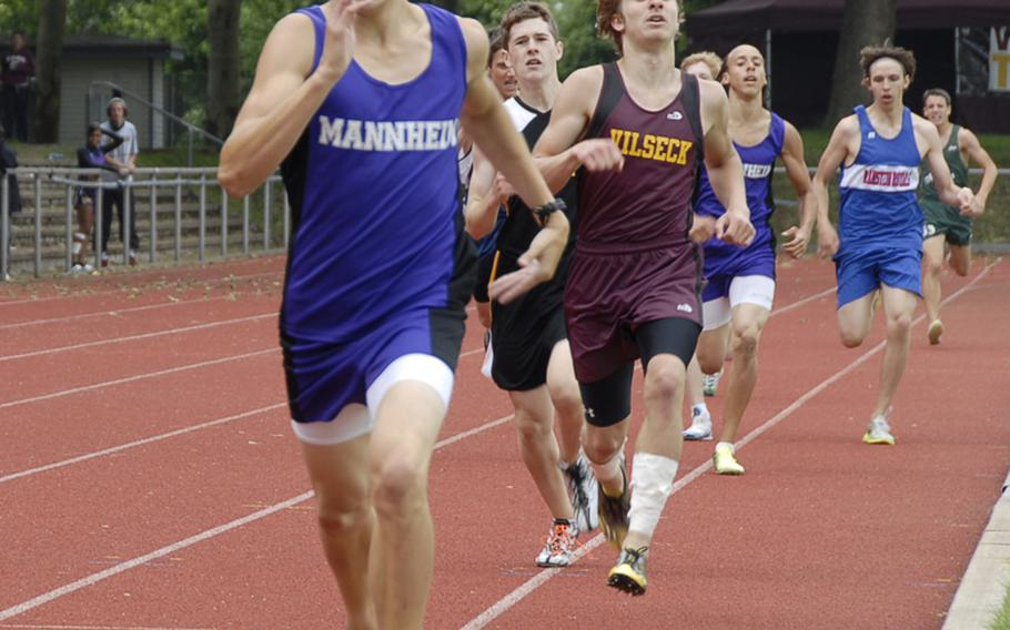 Alex Cornelius of Mannheim High leads the field to win the boys 800 meter run in 4 minutes, 11.24 seconds in the  DODDS-Europe Track and Field Championships at the Rüsselsheim, Germany,  stadium. Second was Zane Kennedy of Vilseck in 4:15.98, third Carl Lewenhaupt of Ramstein in 4:17.20. Cornelius also won the boys 800 meters in 2:00.92.2