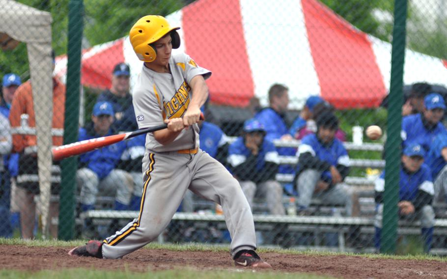 Vicenza short stop Joe Boswell hits a single against Hohenfels during the first inning in a Division II pool game Friday at the DODDS-Europe baseball championship on Ramstein Air Base, Germany. Vicenza went on to win 25-5.