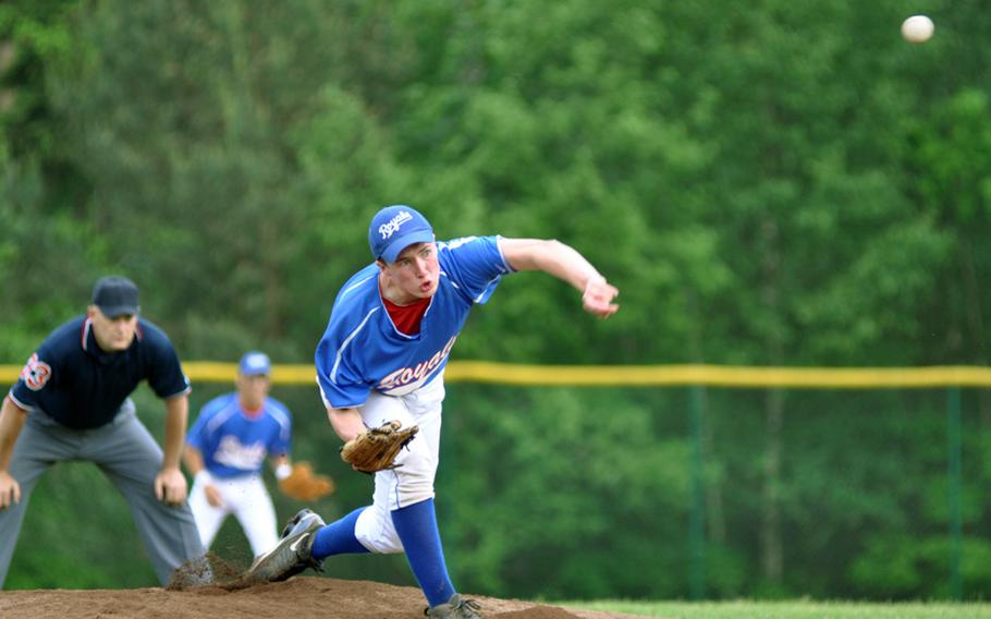 Ramstein pitcher Shane Foley throws a strike in the bottom of the first inning against SHAPE during Ramstein's 24-5 semifinal romp in the DODDS-Europe baseball tournament on Friday at Ramstein Air Base, Germany.
