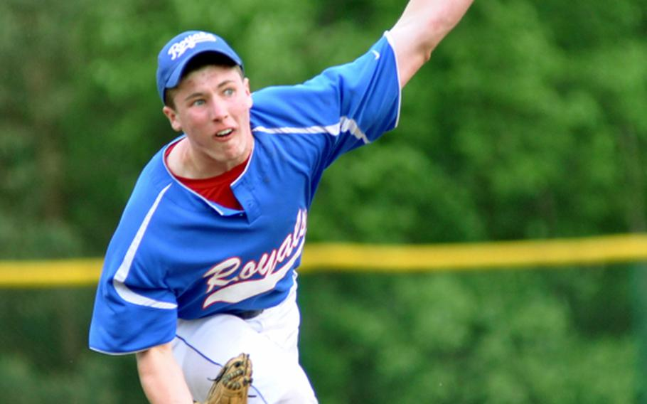Ramstein pitcher Shane Foley throws a strike in the bottom of the first inning against SHAPE during the Royals' 24-5 romp in a Division I baseball semifinal in the DODDS-Europe baseball tournament on Friday at Ramstein Air Base, Germany.