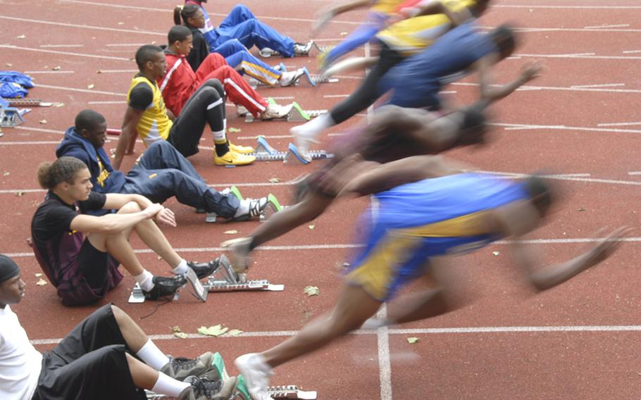 Runners get off to a fast start in one of the preliminary heats in the boys 100 meter dash on the first day of the DODDS-Europe Track and Field Championships at the Rüsselsheim, Germany, stadium on Friday.
