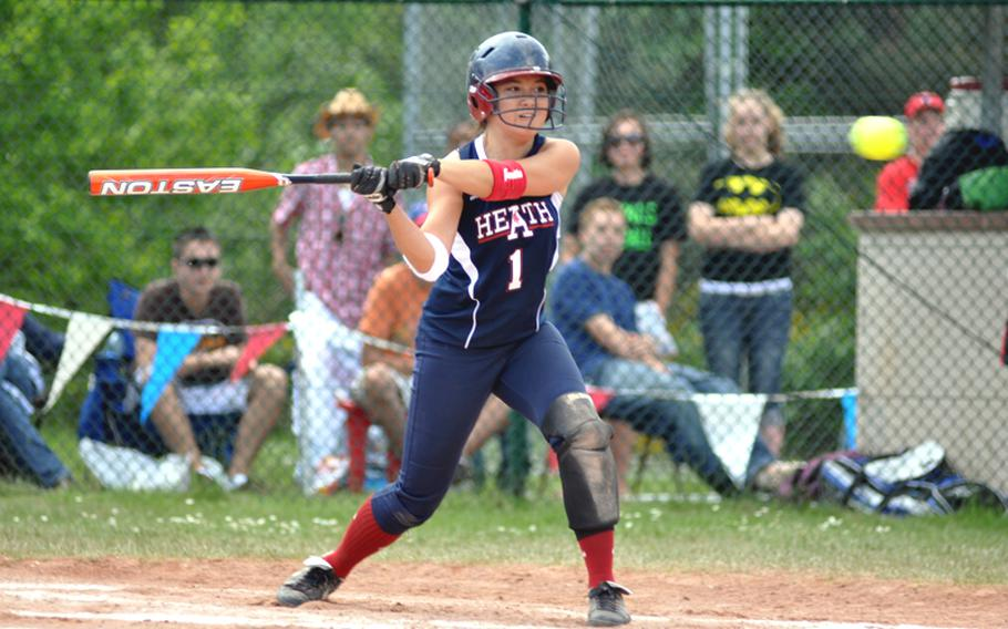 Lakenheath's Stephanie McAnallen focuses on the ball during the DODDS-Europe Division I softball championship game on Saturday. Ramstein went on to win the game, 5-1.