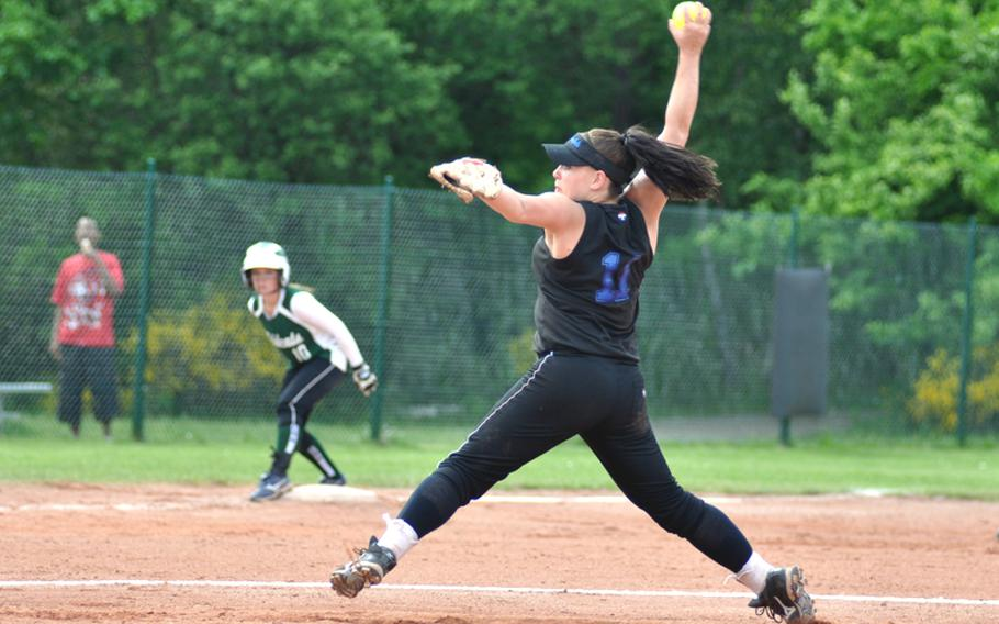 Hohenfels pitcher Mandy LaVanway throws a strike in the bottom of the first inning of the DODDS-Europe Division II champsionship game against Naples at Ramstein High School on Saturday.
