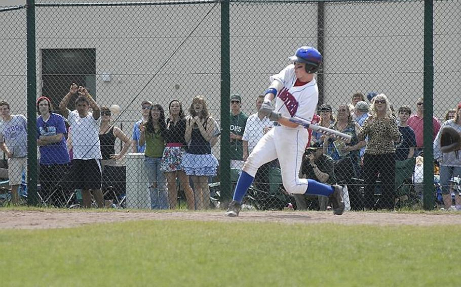 Ramstein sophomore Shane Foley shows off his power as he launches a solo home run in the final inning of Saturday's European Division I high school baseball championship game at Ramstein Air Base. After getting off to a strong lead, the defending champions fell to Patch 10-9.