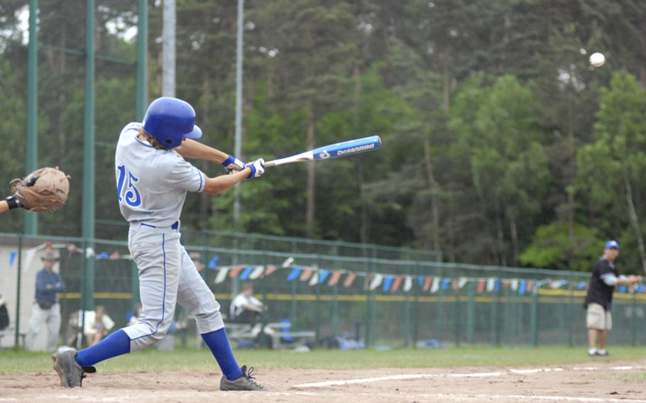 Rota sophomore Tim Morgan gets the game-winning hit during the last inning of the DODDS-Europe Division II/III baseball championships on Saturday. Rota defeated Naples, 4-3.
