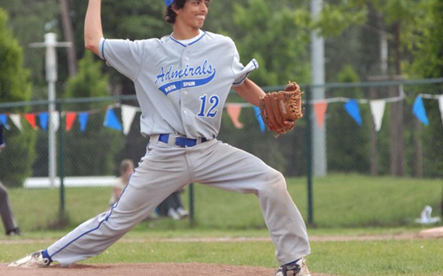 Rota junior Cameron Henry pitches during Saturday's DODDS-Europe's  Divison II/III European high school championships at Ramstein High School.