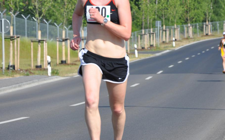 Capt. Myra Galusha, 26, of Ansbach was the fastest female finisher in the U.S. Forces-Europe Army 10-Miler on Saturday with a time of  69 minutes, 55 seconds.